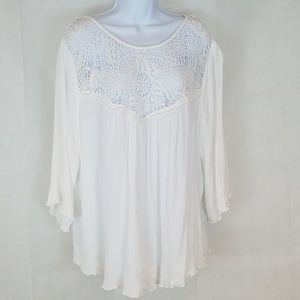 Living Doll Gauze and Lace Tunic-Long Sleeved